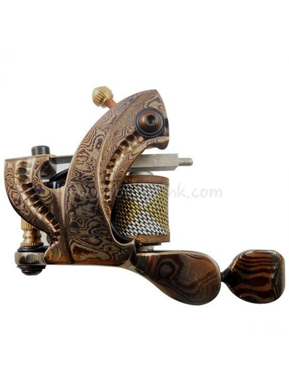 タトゥー マシン N109 10 層状コイルダマスカス スチールライナー 明るい イエロー
