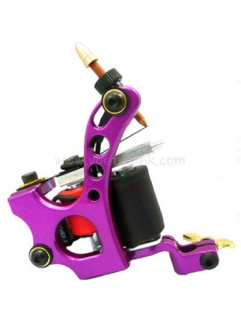 タトゥー マシン N110 10 層状コイル色 アルミニウム シェーダ穴 紫色